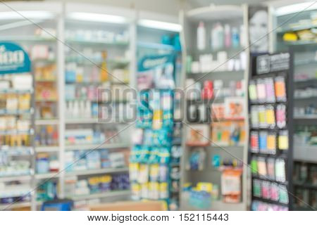 Blurred interior of pharmacy shop.