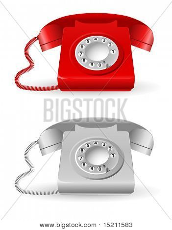 vector retro phone on white background