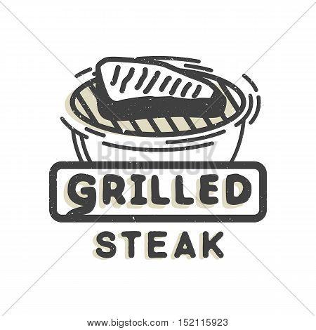 Creative logo design with grilled steak. Vector illustration. Designed to label, emblem or badge for bbq house, steak house, restaurant menu design.