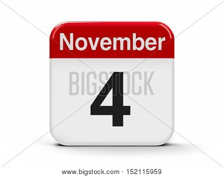 Calendar web button - The Fourth of November three-dimensional rendering 3D illustration