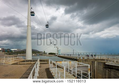 Cable Cars At The Parque Das Nacoes In Lisbon