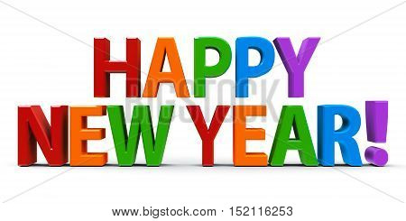 Colorful congratulation Happy New Year three-dimensional rendering 3D illustration