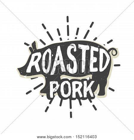 Creative logo design with pork. Vector illustration. Designed to label, emblem or badge for bbq house, steak house, restaurant menu design.