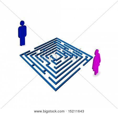 vector maze with man and woman icons