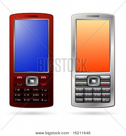 vector silver and red mobile phones