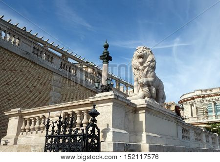 BUDAPEST HUNGARY - SEPTEMBER 28 2016: Buda Castle is the historical castle and palace complex of the Hungarian kings in Budapest. Sculpture of a lion