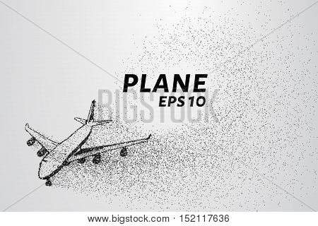 The plane of the particles. The plane disintegrates to smaller molecules. vector illustration