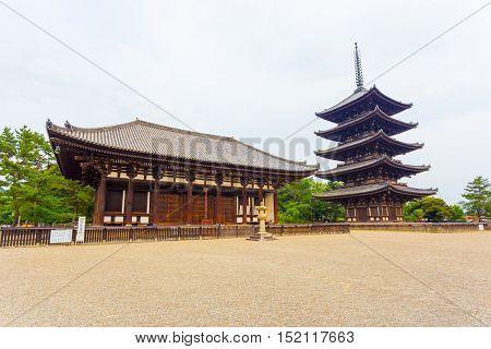 Kofuku-ji East Hall Five Story Pagoda Overcast H