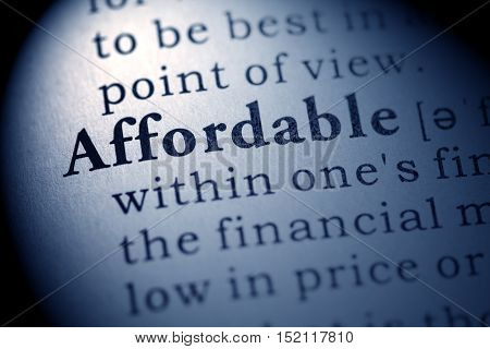 Fake Dictionary definition of the word affordable.