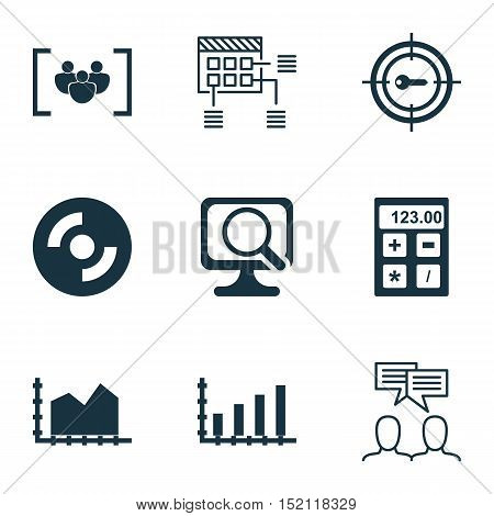 Set Of 9 Universal Editable Icons For Computer Hardware, Education And Project Management Topics. In