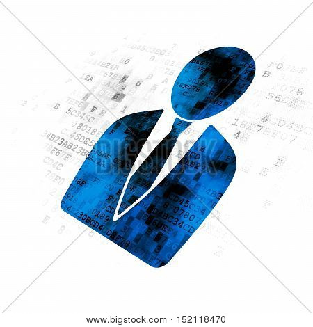 Law concept: Pixelated blue Business Man icon on Digital background