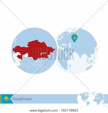 Kazakhstan On World Globe With Flag And Regional Map Of Kazakhstan.