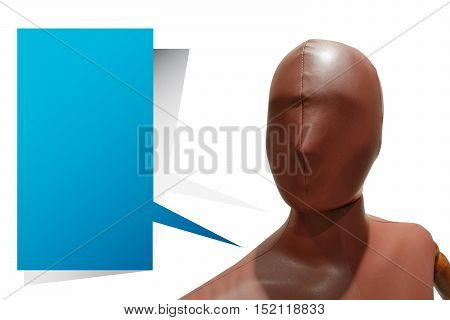 Wooden dummy with Speech Bubble isolate on white background