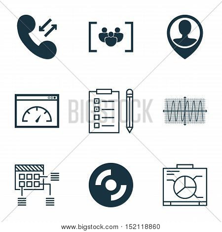 Set Of 9 Universal Editable Icons For Seo, Project Management And Human Resources Topics. Includes I
