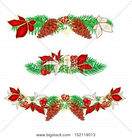 Christmas decoration garlands with pine cones and poinsettia set of three vector illustration
