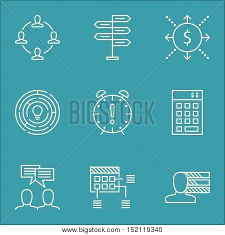 Set Of Project Management Icons On Money, Time Management And Collaboration Topics. Editable Vector