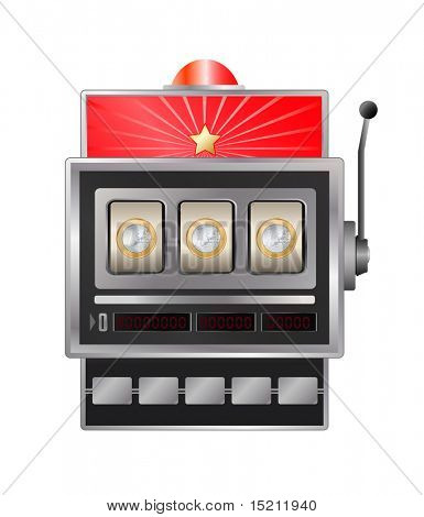 vector slot-machine with euro coin