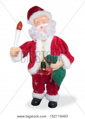 Santa Claus on a white background with presents and a candle in his hand