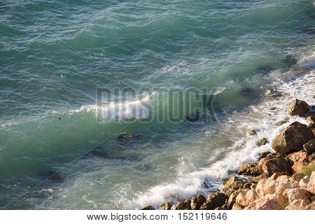 Beautiful coastline with large rocks and clear sea