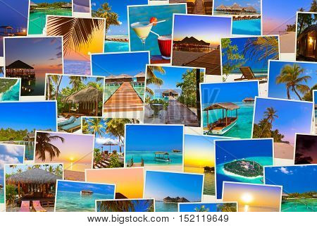 Stack of Maldives beach shots - nature and travel background (my photos)