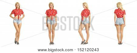 Fashion Portrait Of Young Pretty Hipster In Sexy Shirts Isolated