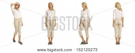 Full-length Portrait Young Sexy Woman In Beige Fashion Shorts Isolated