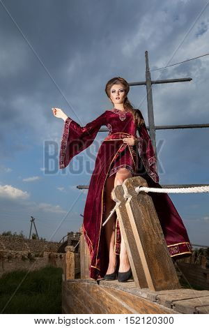 Sensual Woman In Vintage Clothes On A Boat