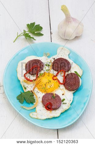 Sucuk turkish garlic sausage with egg picture