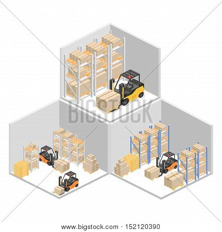 isometric interior of warehouse. The boxes are on the shelves. Flat 3d vector illustration.