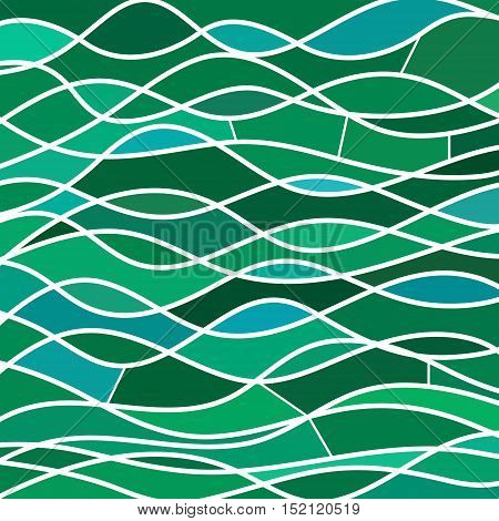 abstract vector stained-glass mosaic background - teal waves