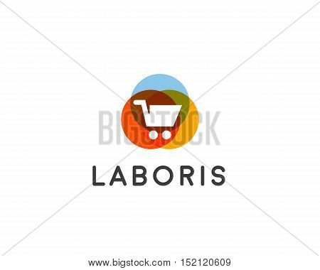 Shopping cart logo. Shop, sale discount, store vector icon logotype