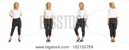Full-length Portrait Young Sexy Woman In Black Fashion Shorts Isolated