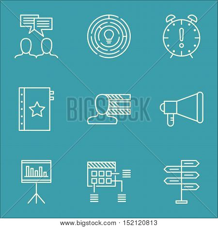 Set Of Project Management Icons On Schedule, Discussion And Warranty Topics. Editable Vector Illustr