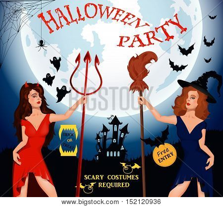 Halloween party. Witch, ghost, bat, moon, devil and other items on Halloween theme. Halloween background. illustration. Happy Halloween