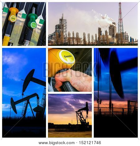 Collage of Oil fuel pump petrol station and product
