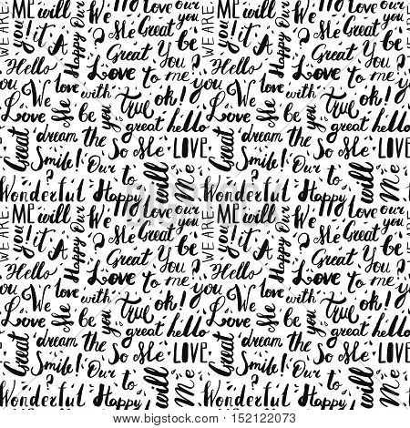 Handwritten vintage ink words vector seamless pattern with drops. Black lettering.