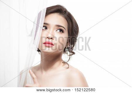 Beautiful Asian Bride Portrait wedding makeup wedding hairstyle Wedding dress. Wedding decoration. soft selective focus.