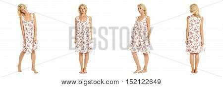 Sexy Woman In Summer Nightie Isolated On White Background
