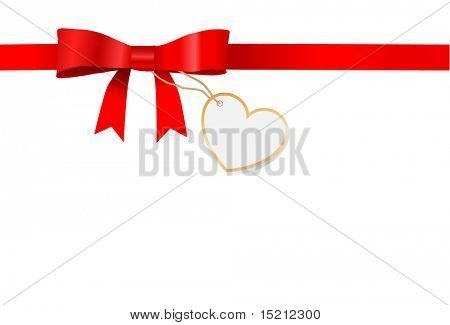 red bow with tag-heart  vector