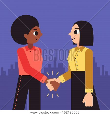 Woman shaking hands vector background (african american and brunette bob hairstyle). Female handshake cartoon minimalistic style.