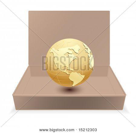 cardboard box with globe