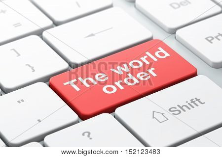 Political concept: computer keyboard with word The World Order, selected focus on enter button background, 3D rendering