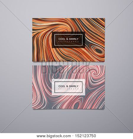 Greeting, invitation, business cards design template with swirled stripes. Vector illustration of swirled and curled stripes background. Marble or acrylic texture imitation. Cool and Swirly background