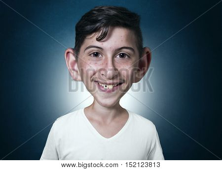 portrait of smiling teenager in comic style with teeth problems