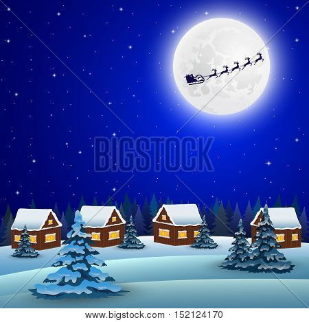 Night christmas forest landscape. Santa Claus flies reindeer in the background of the moon