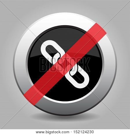 gray chrome button with no hanging chain - banned icon