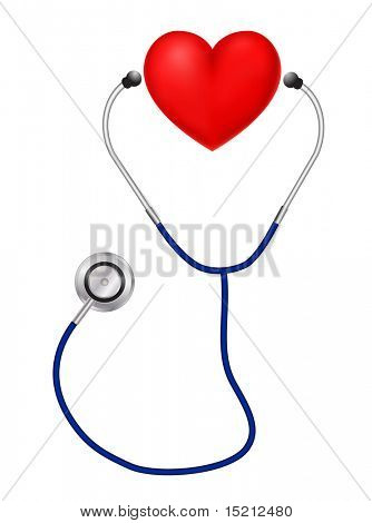 vector heart with stethoscope