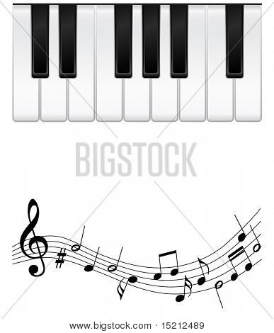 vector piano keys with notes