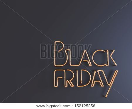 Black Friday Metal Neon Text 3D Illustration With Copy Space