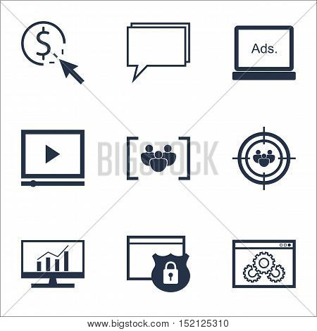 Set Of Marketing Icons On Ppc, Security And Focus Group Topics. Editable Vector Illustration. Includ